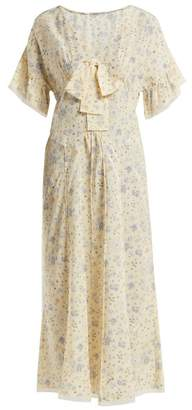 Miu Miu Floral Print Silk Crepe De Chine Dress - Womens - Light Yellow