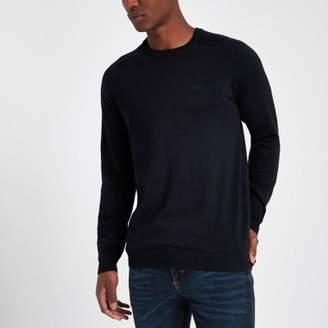 River Island Navy slim fit crew neck sweater