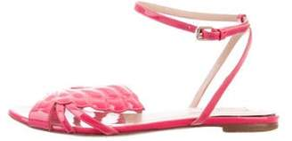 Valentino Patent Leather Ankle-Strap Sandals Pink Patent Leather Ankle-Strap Sandals