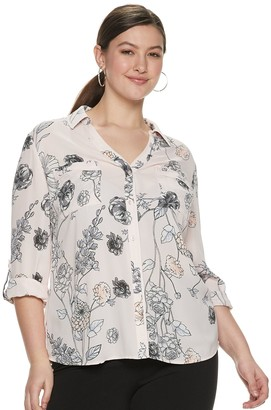 Candies Juniors' Plus Size Candie's Roll-Tab Blouse