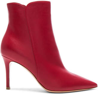 Gianvito Rossi Nappa Leather Levy Ankle Boots in Tabasco Red | FWRD