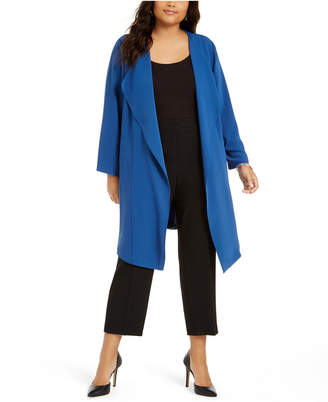 Nine West Plus Size Open-Front Elastic-Back Cardigan