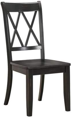 Benzara Pine Veneer Side Chair With Double X-Cross Back, Black
