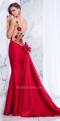 Tarik Ediz Prom One Shoulder Rose Embroidered Bow Back Prom Dress $658 thestylecure.com