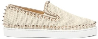 Christian Louboutin Boat Spike Embellished Woven Slip On Trainers - Womens - Ivory
