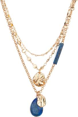 Halogen Molten Semiprecious Stone Layer Necklace