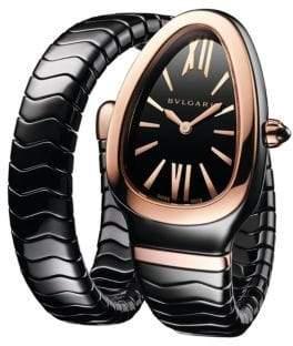 Bvlgari Serpenti Spiga Rose Gold& Black Ceramic Single Twist Watch