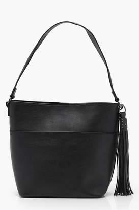 boohoo Studded Tassel Slouch Day Bag