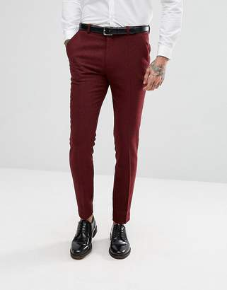 Asos DESIGN Wedding Super Skinny Suit Pants in Wine Herringbone