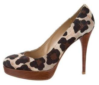 Stuart Weitzman Leopard Round-Toe Pumps