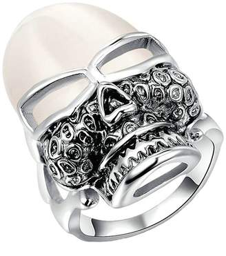 Aokarry Wedding Ring, Silver Plated Opal Skull Head Engagement Anniversary Wedding Ring for Her
