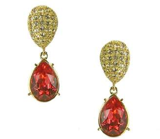 At Co Uk Swarovski Cristalina 18k Gold Plated Padparadscha Chunky Oval Teardrop Crystal Earrings