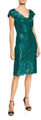 Tadashi Shoji V-Neck Short-Sleeve Sequin Lace Sheath Dress