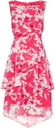 WallisWallis PETITE Pink Floral Print Tiered Dress