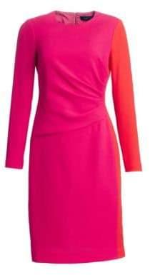 Teri Jon by Rickie Freeman Draped Wool Sheath Dress