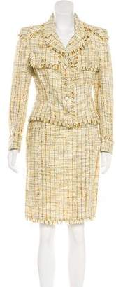 Chanel Fringe Tweed Skirt Suit