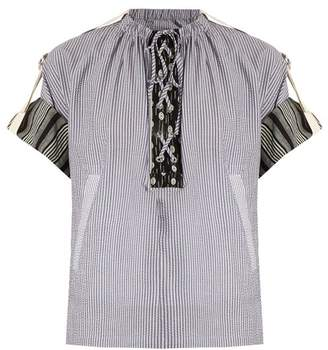 J.W.Anderson Lace Up Striped Cotton Gauze Top - Womens - Blue Stripe