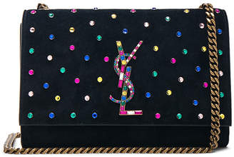 Saint Laurent Small Crystal Embellished Suede Monogramme Kate Chain Bag