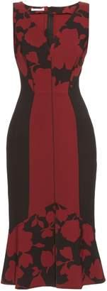 Oscar de la Renta Fluted-hem floral-brocade dress