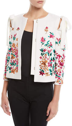 Oscar de la Renta Floral-Embroidered Bow-Shoulder Short Jacket