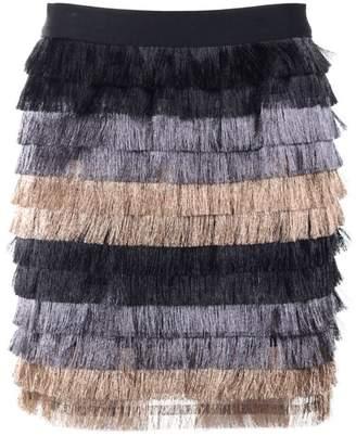 BCBGMAXAZRIA (ビーシービージーマックスアズリア) - Bcbg Max Azria Christal Metallic-fringe Mini Skirt
