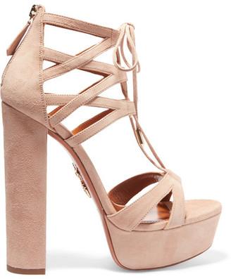 Aquazzura - Beverly Hills Plateau Suede Platform Sandals - Beige $865 thestylecure.com