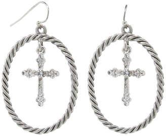 clear 1928 Jewelry 1928 Religious Jewelry Brass 46.5mm Cross Hoop Earrings