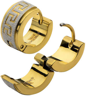 FINE JEWELRY Two-Tone Stainless Steel Greek Key Hoop Earrings