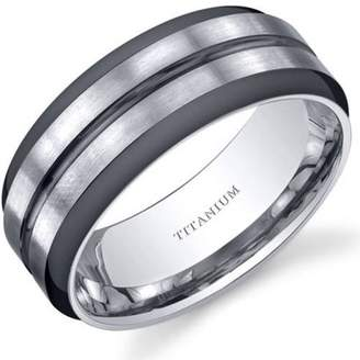 Oravo Men's Two-Tone Comfort Fit Titanium Wedding Band Ring