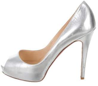 Christian Louboutin Metallic Peep-Toe Pumps Silver Metallic Peep-Toe Pumps
