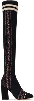Tabitha Simmons Embroidered Mesh Irina 100 thigh high boots