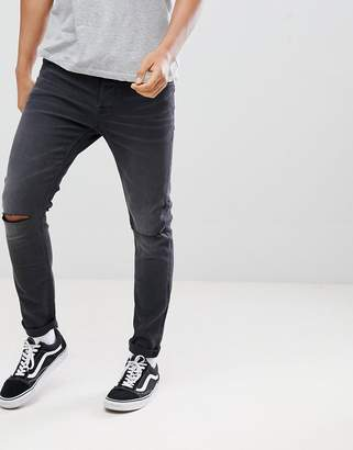 ONLY & SONS Skinny Jeans In Washed Gray With Knee Rip