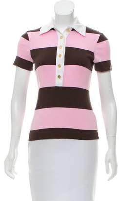 Tory Burch Striped Polo Top
