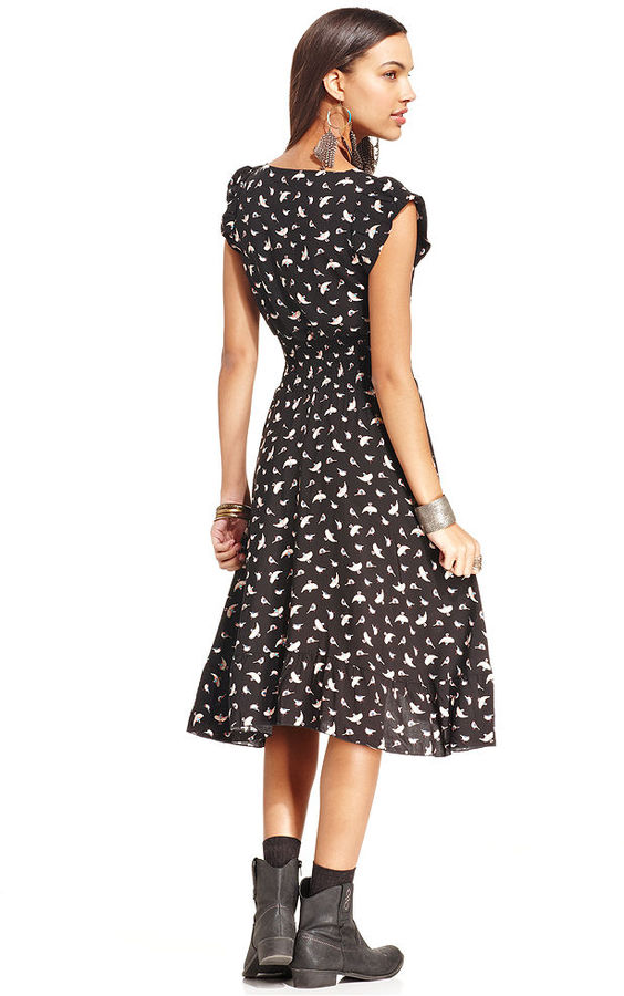 American Rag Bird-Print High-Low Dress
