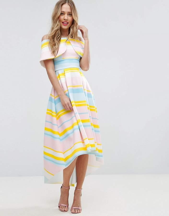 AsosASOS Bright Stripe Deep Fold Debutante Dress