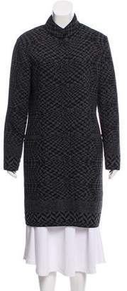D-Exterior D. Exterior Knit Jacquard Knee-Length Coat