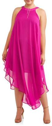 Love Squared Women's Plus Size Sleeveless Racer Neck Chiffon Maxi Dress
