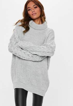 Missguided Gray Turtle Neck Cable Longline Sweater