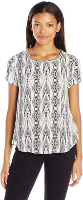 Jolt Women's Printed Knit to Woven Top