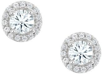Affinity Diamond Jewelry Round Halo Earrings, 14K White Gold, 1 cttw, byAffinity