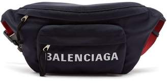 Balenciaga Logo Embroidered Belt Bag - Womens - Red Navy