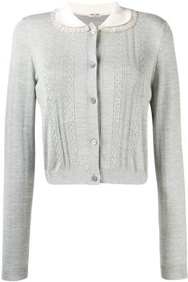 Miu Miu contrast-collar fitted cardigan