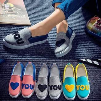 POLYHYMNIA Women's Heart You Printed Canvas Flat Shoes Casual Color Blocking Slip-on Loafer
