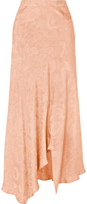 Etro Asymmetric Silk-jacquard Midi Skirt - Pink