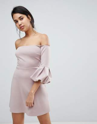 Bardot Asos Design ASOS Off The Shoulder Balloon Sleeve Shift Dress