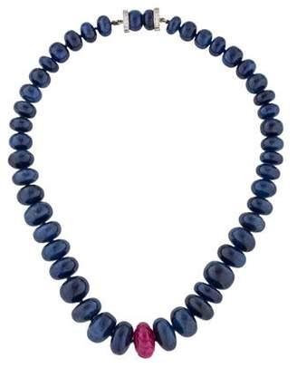 Diamond, Ruby & Sapphire Bead Strand Necklace
