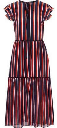Markus Lupfer Striped Silk Midi Dress