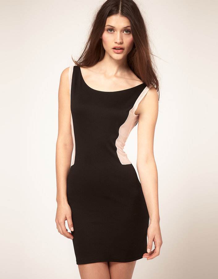 Oh My Love Chaka Mesh Panel Body-Conscious Dress