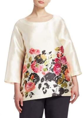 Caroline Rose Women's Floral-Print Tunic - Multi Ivory - Size 1X (14-16)