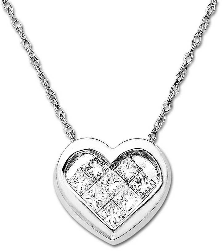 Lord & Taylor 14 Kt. White Gold Diamond Heart Pendant